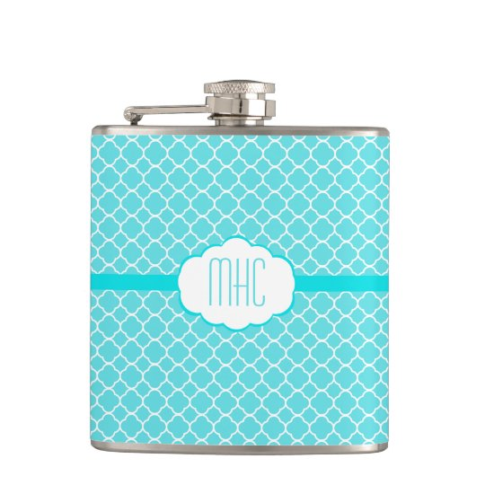 Aqua Blue Quatrefoil- Monogram Hip Flask