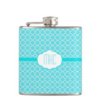 Aqua Blue Quatrefoil-Monogram Flask