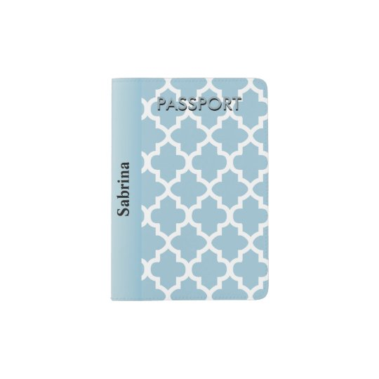 Aqua Blue Quatrefoil Pattern | Personalise Passport Holder