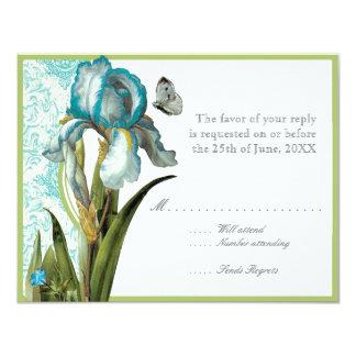 Aqua Blue Quatrefoil RSVP Responce Cards 11 Cm X 14 Cm Invitation Card
