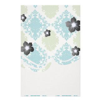 aqua blue sage green white diamond damask customised stationery