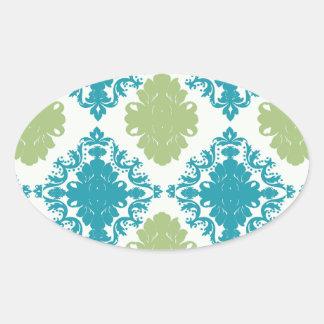 aqua blue sage green white diamond damask oval sticker