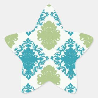 aqua blue sage green white diamond damask star sticker