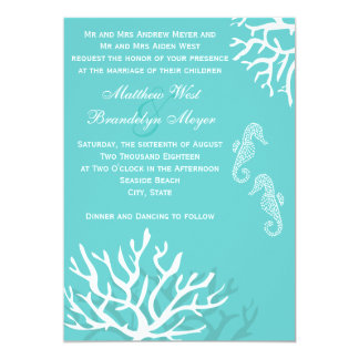 Aqua Blue Sea Coral Seahorse Wedding Invitations