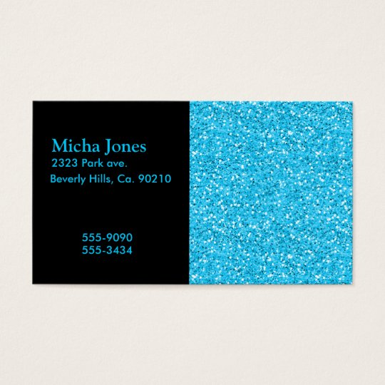 Aqua Blue Shimmer Glitter Business Card