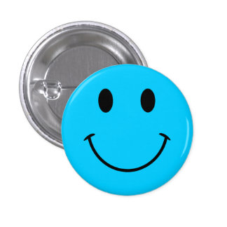 Aqua Blue Smiley Face Button