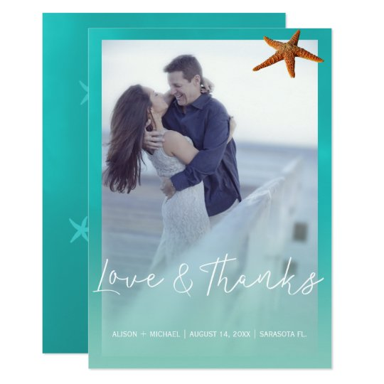 Aqua blue starfish beach wedding thank you photo