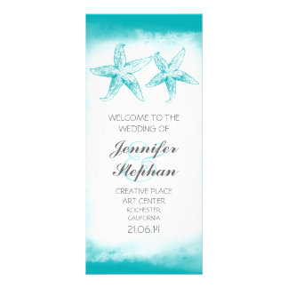 aqua blue starfish couple beach wedding programs rack card