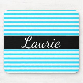Aqua Blue Striped Name Mousepad