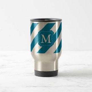 Aqua Blue stripes Monogram Stainless Steel Travel Mug