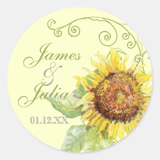 Aqua Blue Sunflower Floral Swirl Modern Wedding Round Sticker