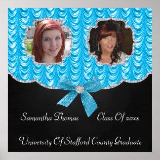 Aqua Blue Swag Bling 2 Photos Graduation Poster