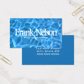 Aqua Blue Swimming Pool Water Photo Business Card