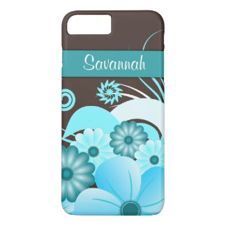 Aqua Blue Teal & Chocolate Brown Hibiscus Floral iPhone 8 Plus/7 Plus Case
