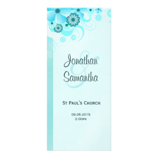 Aqua Blue Teal Floral Wedding Program Templates Personalized Rack Card