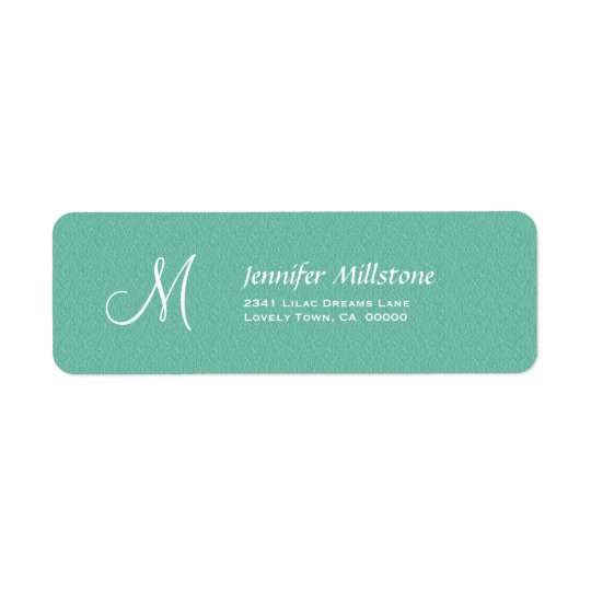 AQUA BLUE Textured Wedding Monogram Address Label