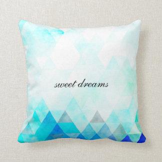 Aqua Blue Triangles Watercolor Cushion