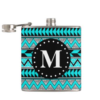 Aqua Blue Tribal Chevron Pattern Monogram Hip Flask