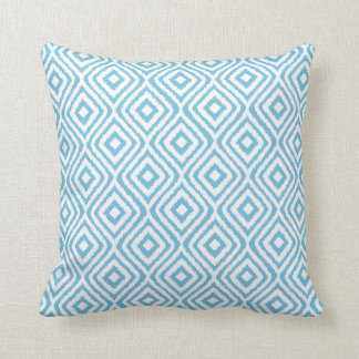 Aqua Blue Tribal Ikat Diamond Pattern Cushion