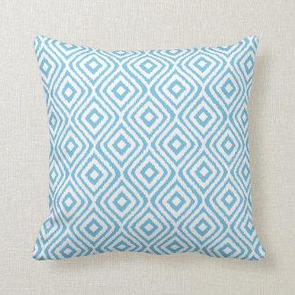 Aqua Blue Tribal Ikat Diamond Pattern Pillows