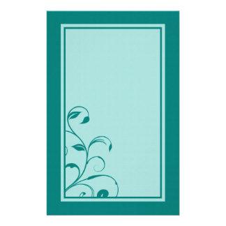 Aqua Blue & Turquoise Swirls and Curls Stationary Customized Stationery