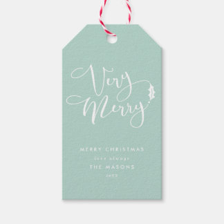 Aqua Blue Very Merry Christmas Gift Tags