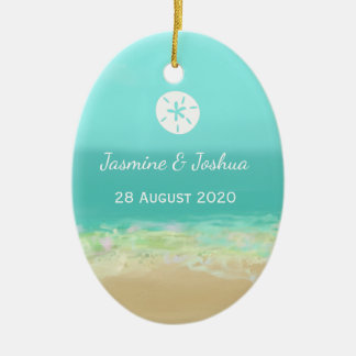 Aqua blue water/painted beach seashore personalize christmas ornament
