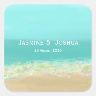 Aqua blue water/painted beach seashore personalize square sticker