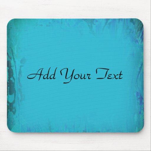 Aqua Blue Watercolor Abstract Mouse Pad