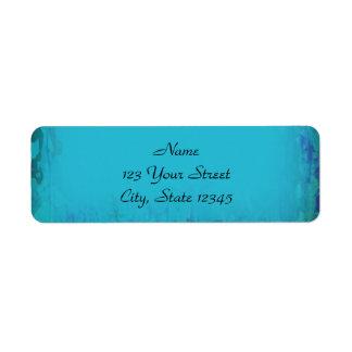Aqua Blue Watercolor Abstract Return Address Label