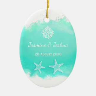 Aqua  blue watercolor brush  coral reef watercolor christmas ornament