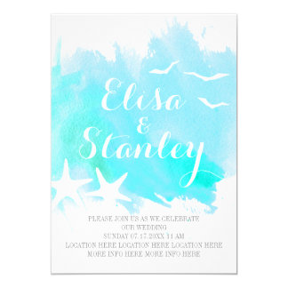 Aqua blue watercolor, starfish beach wedding 13 cm x 18 cm invitation card
