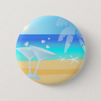 Aqua Blue Waters. Sunny Day by the Beach 6 Cm Round Badge