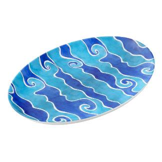 Aqua Blue Waves Porcelain Serving Platter