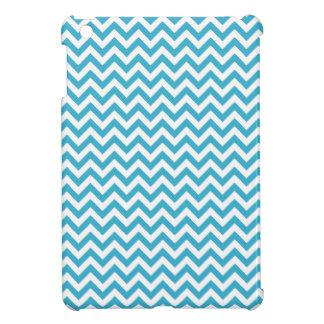 Aqua Blue White Chevron Pattern Case For The iPad Mini