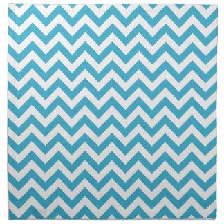 Aqua Blue White Chevron Pattern Napkin