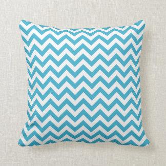 Aqua Blue White Chevron Pattern Throw Pillow