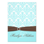 Aqua Blue, White Damask with Brown PRINTED Ribbon