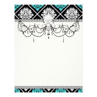 aqua blue white diamond damask pattern personalized flyer