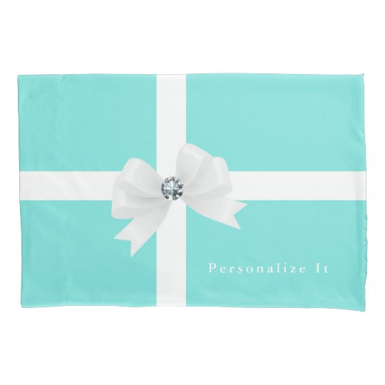 Aqua Blue & White Elegant Glam Diamond Bow