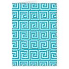 Aqua Blue White Greek Key Pattern Card
