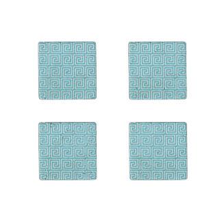 Aqua Blue White Greek Key Pattern Stone Magnet