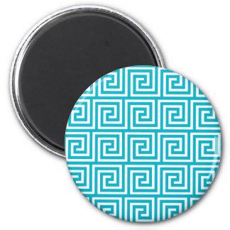 Aqua Blue White Greek Key Pattern Refrigerator Magnet