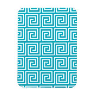 Aqua Blue White Greek Key Pattern Flexible Magnet