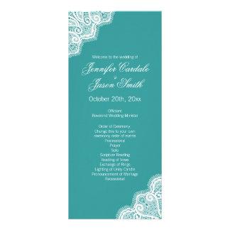 Aqua Blue White Lace Vertical Wedding Programs Rack Card