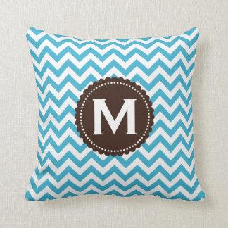 Aqua Blue White Monogram Chevron Pattern Cushion