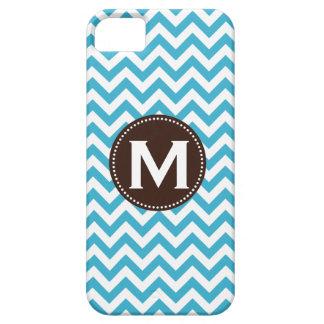 Aqua Blue White Monogram Chevron Pattern iPhone 5 Covers