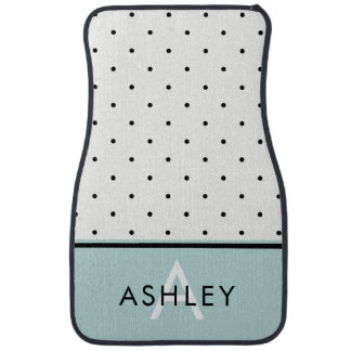 Aqua Blue with Black and White Polka Dots Floor Mat