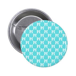 Aqua Blue With White Wedding Bow 6 Cm Round Badge