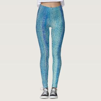 Aqua Blue Wood Art Leggings